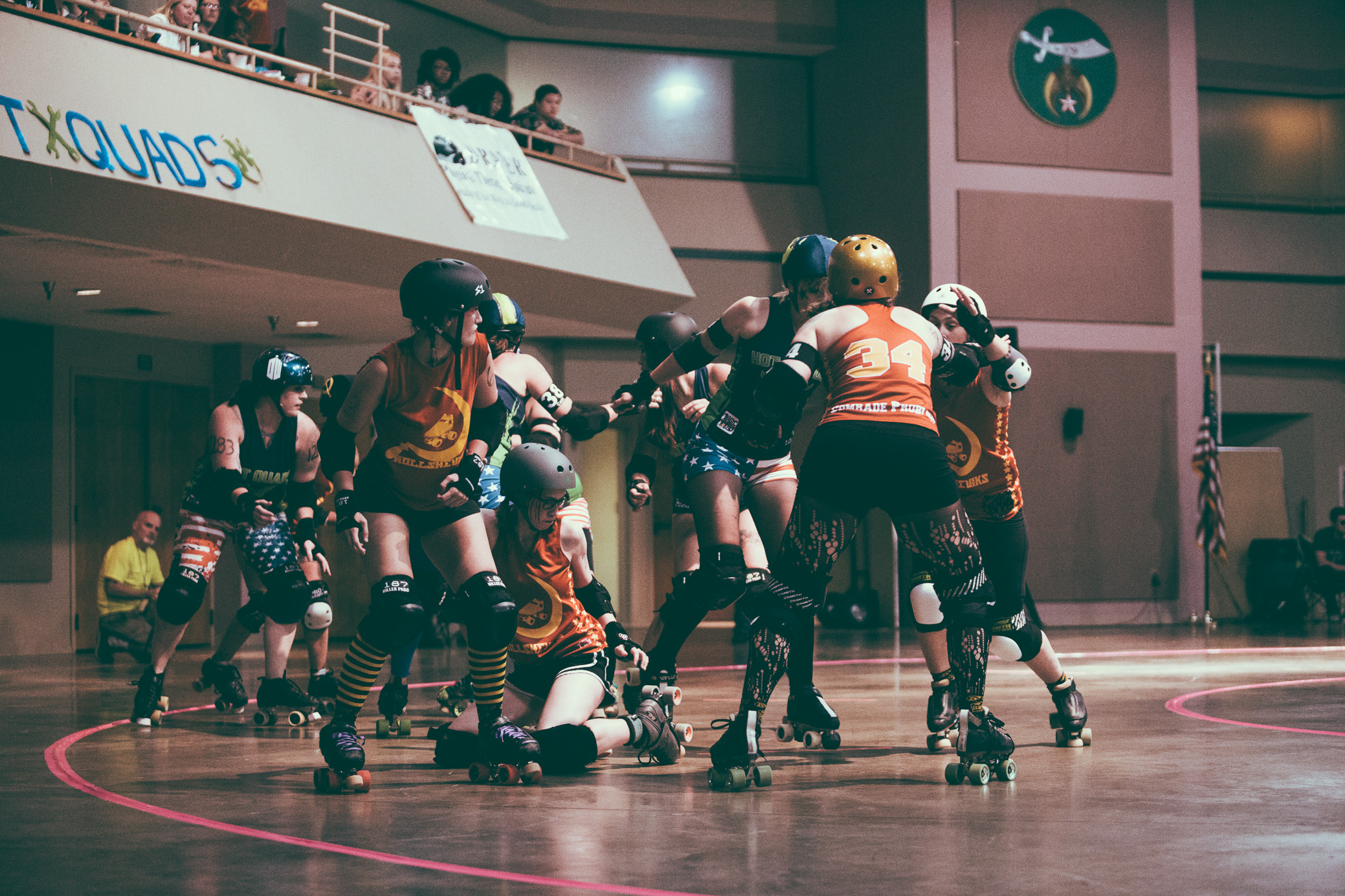 The Tragic City Rollers last home bout of 2017 featured the Hot Quads vs. the Rollsheviks and took place at the Zamora Shrine Center in Birmingham, Alabama on August 12th, 2017. (Photo by David A. Smith/DSmithScenes)