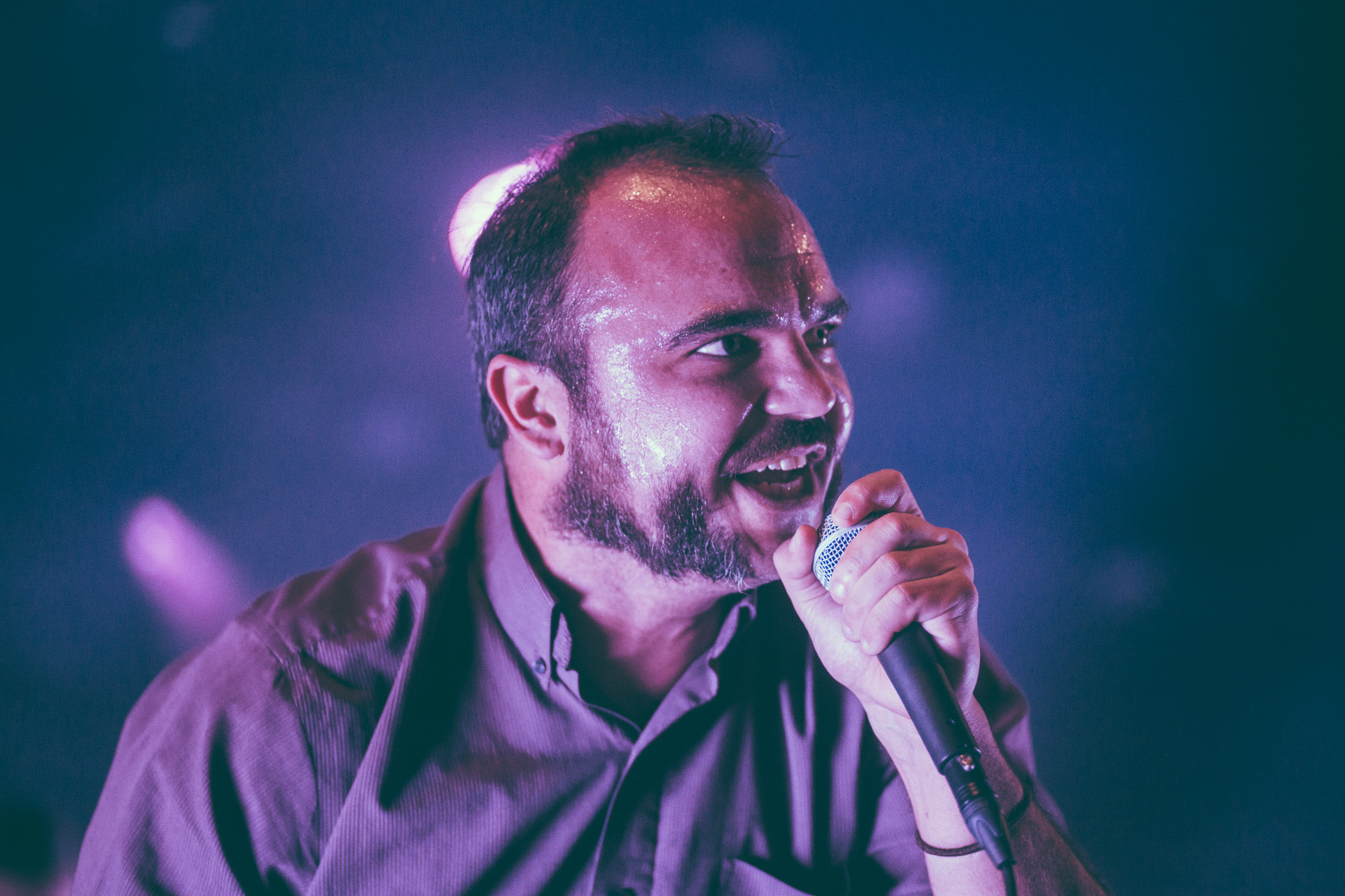 Samuel T. Herring of Future Islands performs in concert at Iron City in Birmingham, Alabama on September 10th, 2017. (Photo by David A. Smith/DSmithScenes)