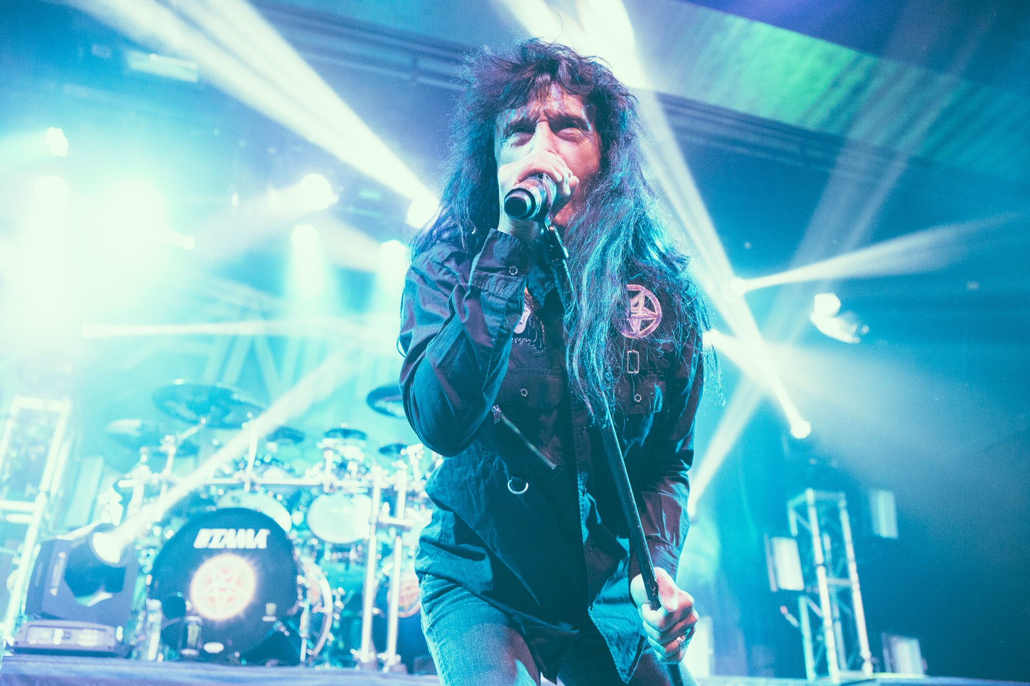 Joey Belladonna of Anthrax performs at Iron City in Birmingham, Alabama on February 6th, 2018. (Photo by David A. Smith/DSmithScenes)