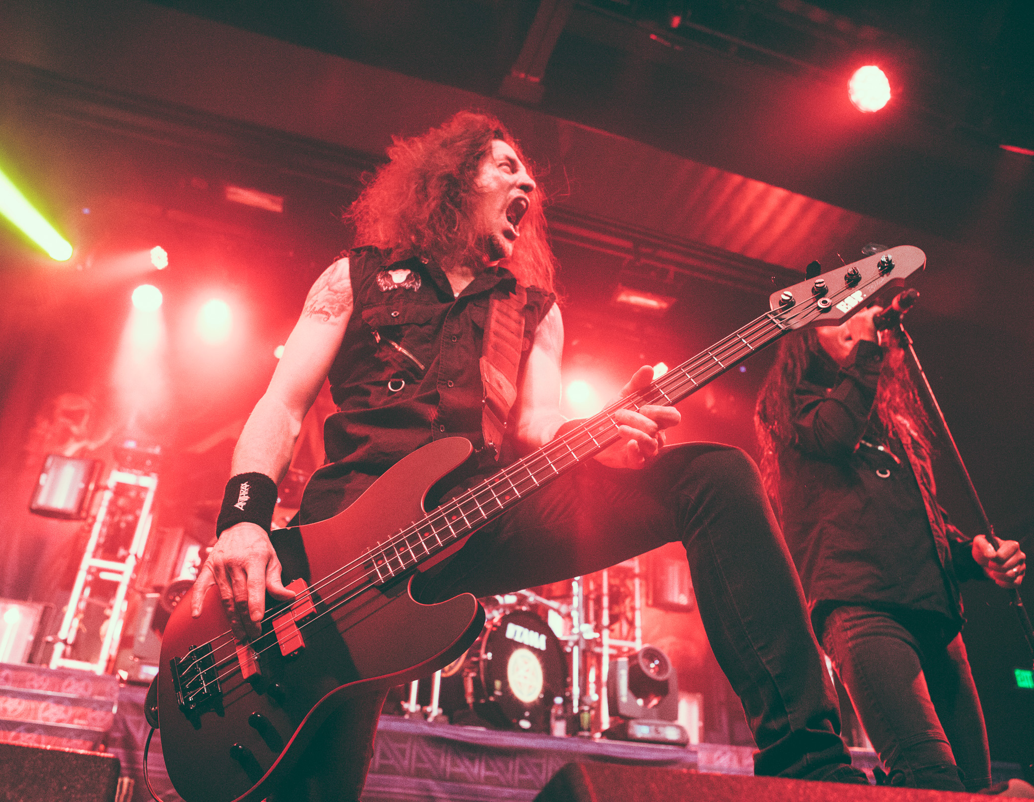 Frank Bello of Anthrax performs at Iron City in Birmingham, Alabama on February 6th, 2018. (Photo by David A. Smith/DSmithScenes)