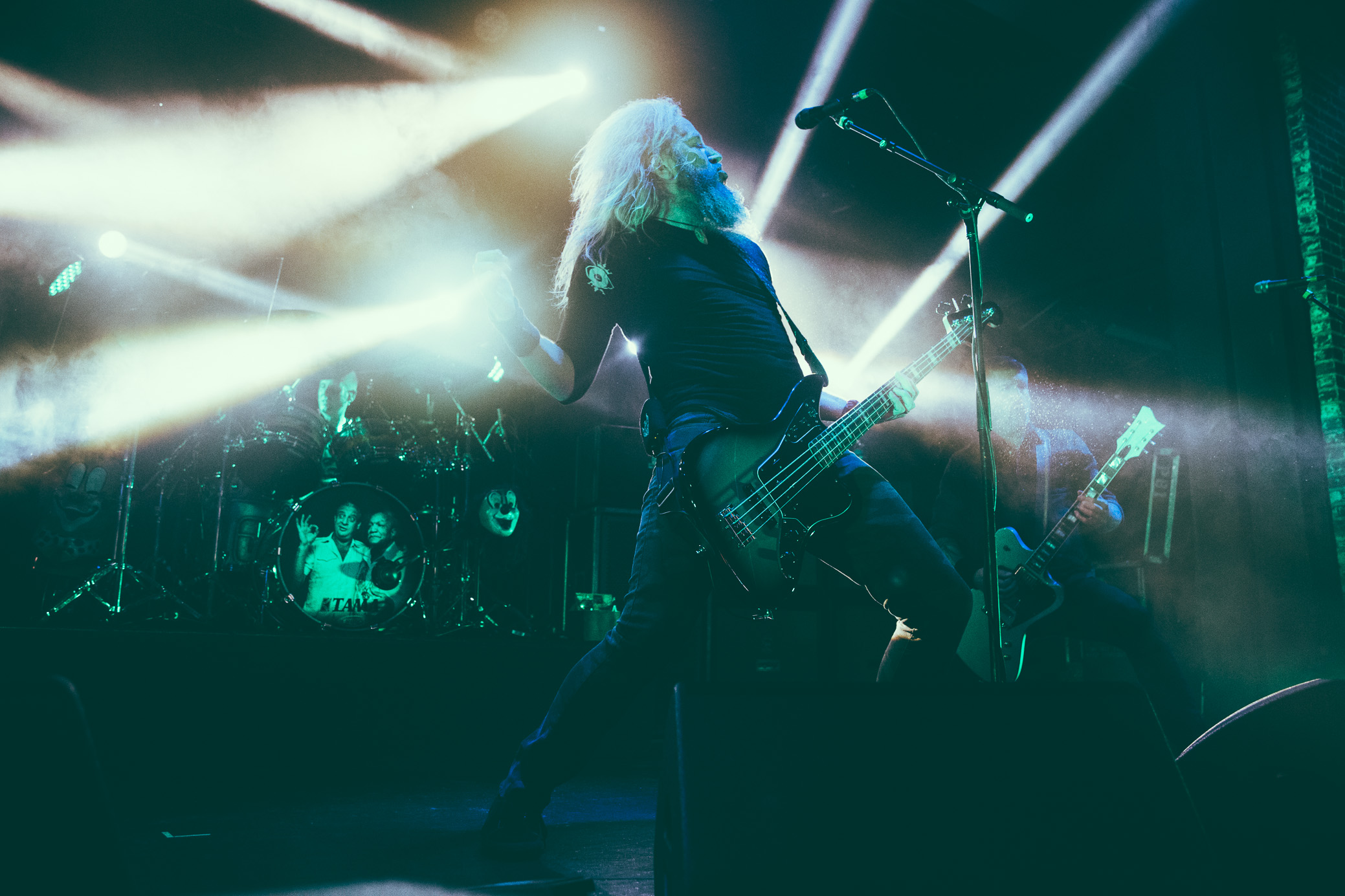 Troy Sanders of Mastodon performs in concert at Iron City in Birmingham, Alabama on April 28th, 2017. (Photo by David A. Smith/DSmithScenes)