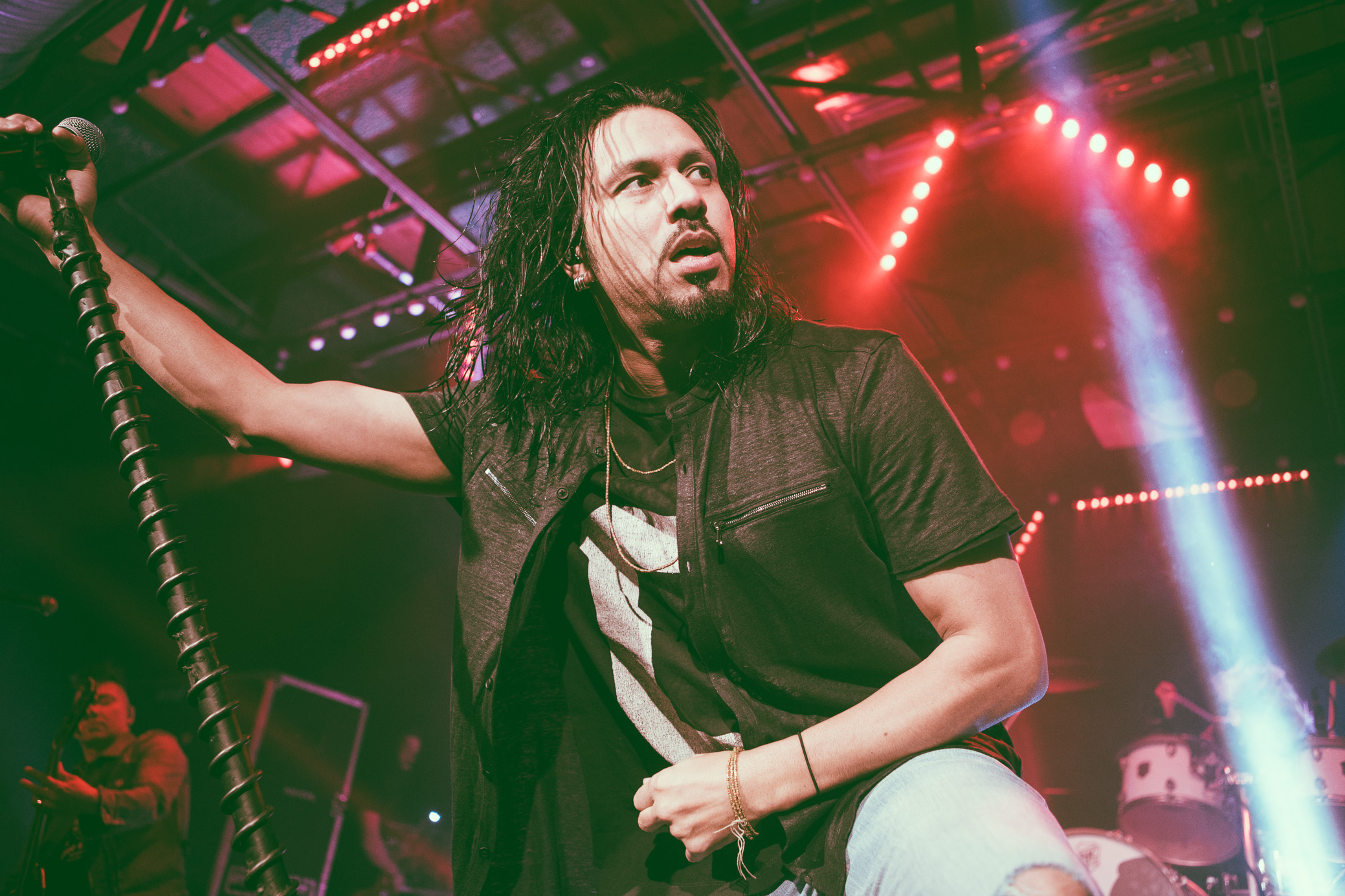 Leigh Kakaty of Pop Evil performs in concert at Saturn Birmingham in Birmingham, Alabama on March 13th, 2018. (Photo by David A. Smith/DSmithScenes)