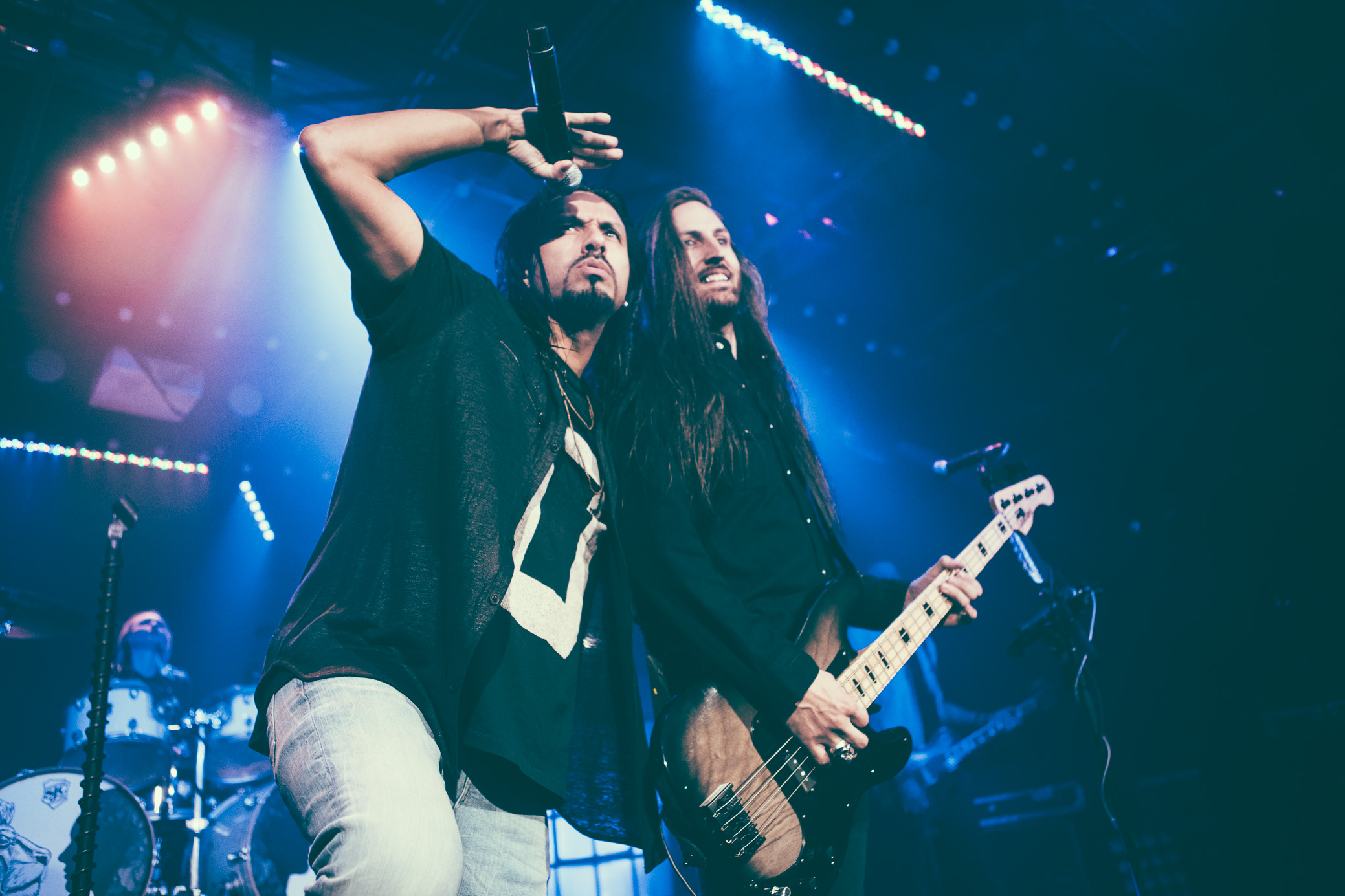 Leigh Kakaty and Matt DiRito of Pop Evil perform in concert at Saturn Birmingham in Birmingham, Alabama on March 13th, 2018. (Photo by David A. Smith/DSmithScenes)