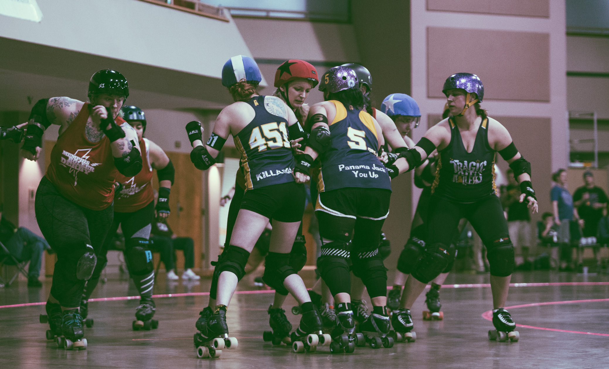 A scene from the roller derby bout between The Tragic City Rollers All-Stars vs. Memphis Roller Derby's Hustlin' Rollers at Zamora Shrine Center in Irondale, Alabama on March 24th, 2018. (Photo by David A. Smith/DSmithScenes)