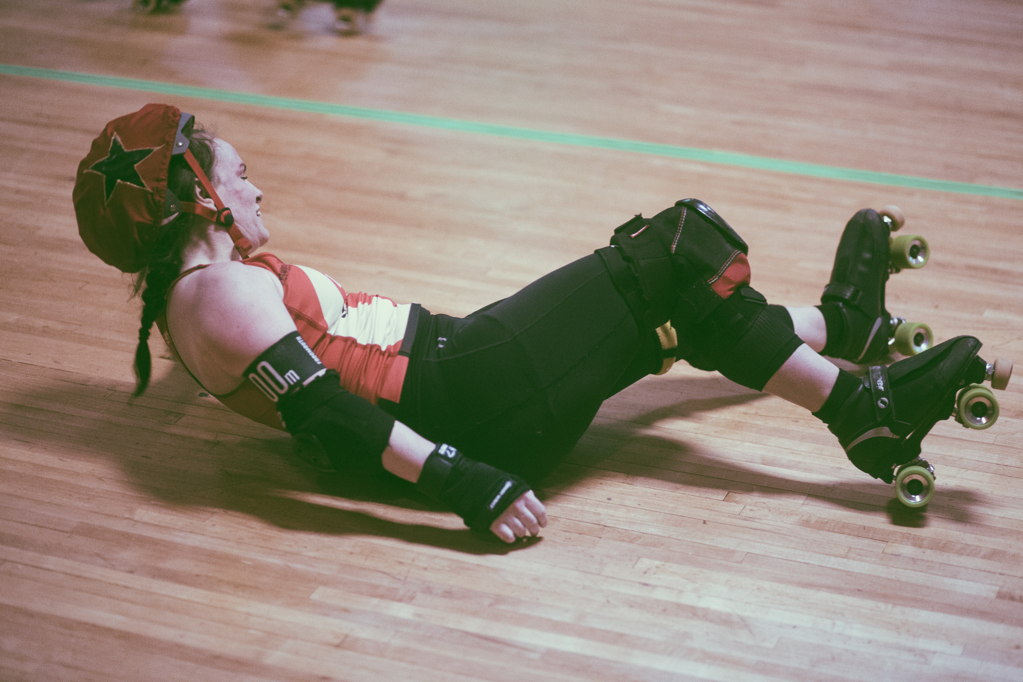 A scene from the roller derby bout between The Druid City Dames and Montgomery Roller Derby at Super Skate in Tuscaloosa, Alabama on April 14th, 2018. (Photo by David A. Smith/DSmithScenes)