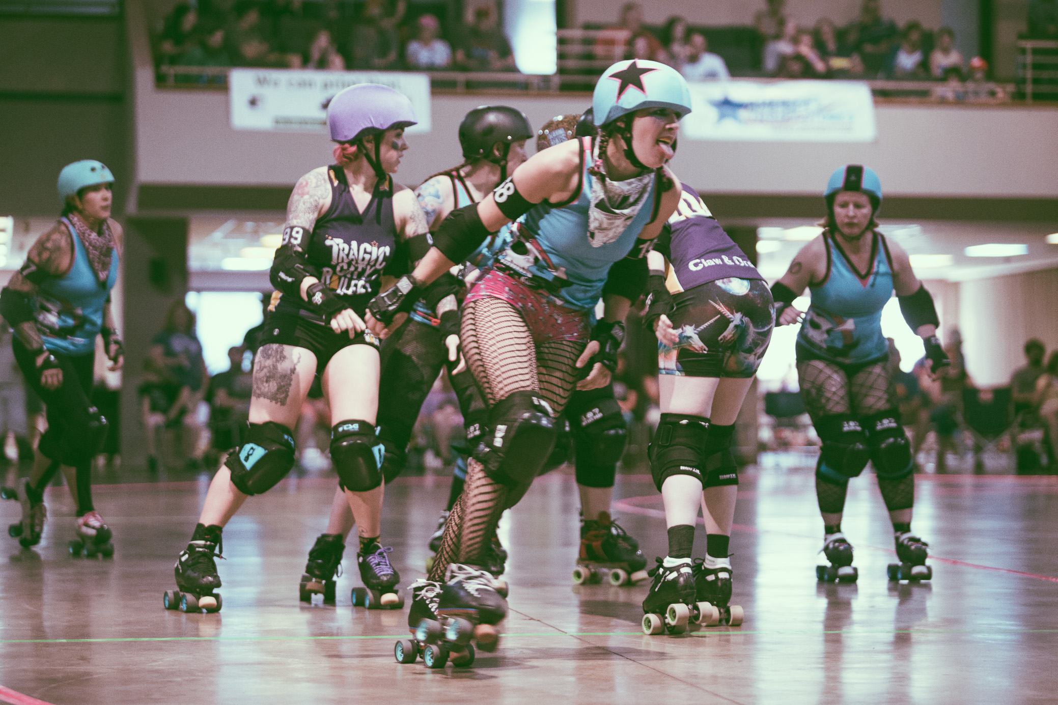 A scene from the roller derby bout between the Tragic City Rollers All-Stars vs. Dixie Derby Girls at Zamora Shrine Center in Irondale, Alabama on May 12th, 2018. (Photo by David A. Smith/DSmithScenes)