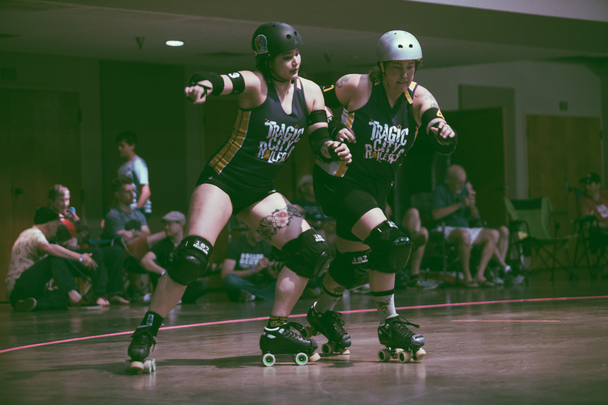 A scene from the roller derby bout between the Tragic City Rollers Iron City Maidens vs. Druid City Dames at Zamora Shrine Center in Irondale, Alabama on May 12th, 2018 . (Photo by David A. Smith/DSmithScenes)