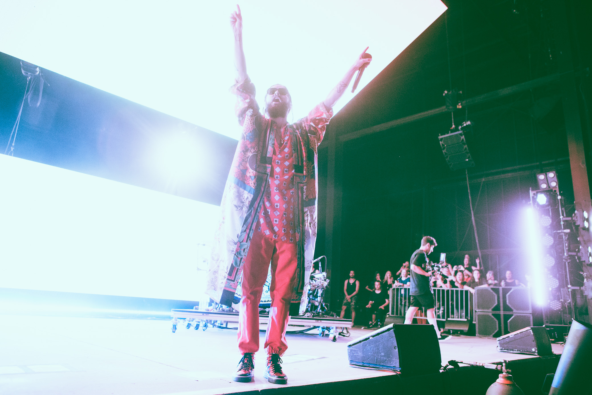 Jared Leto of Thirty Seconds to Mars performs in concert at the Oak Mountain Amphitheatre in Pelham, Alabama on July 3rd, 2018. (Photo by David A. Smith/DSmithScenes)