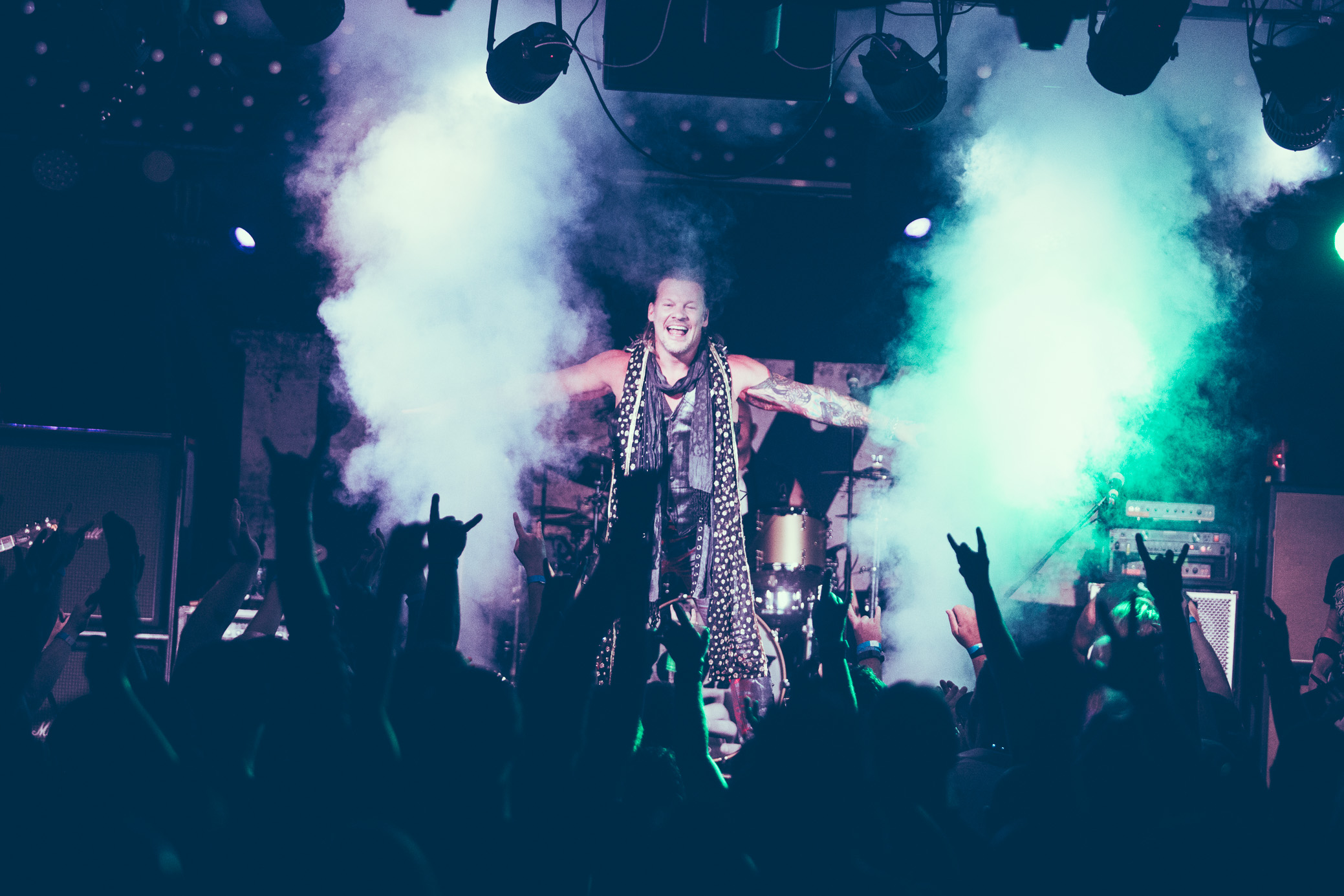 Chris Jericho of Fozzy performs in concert at Saturn Birmingham in Birmingham, Alabama on August 25th, 2018. (Photo by David A. Smith/DSmithScenes)