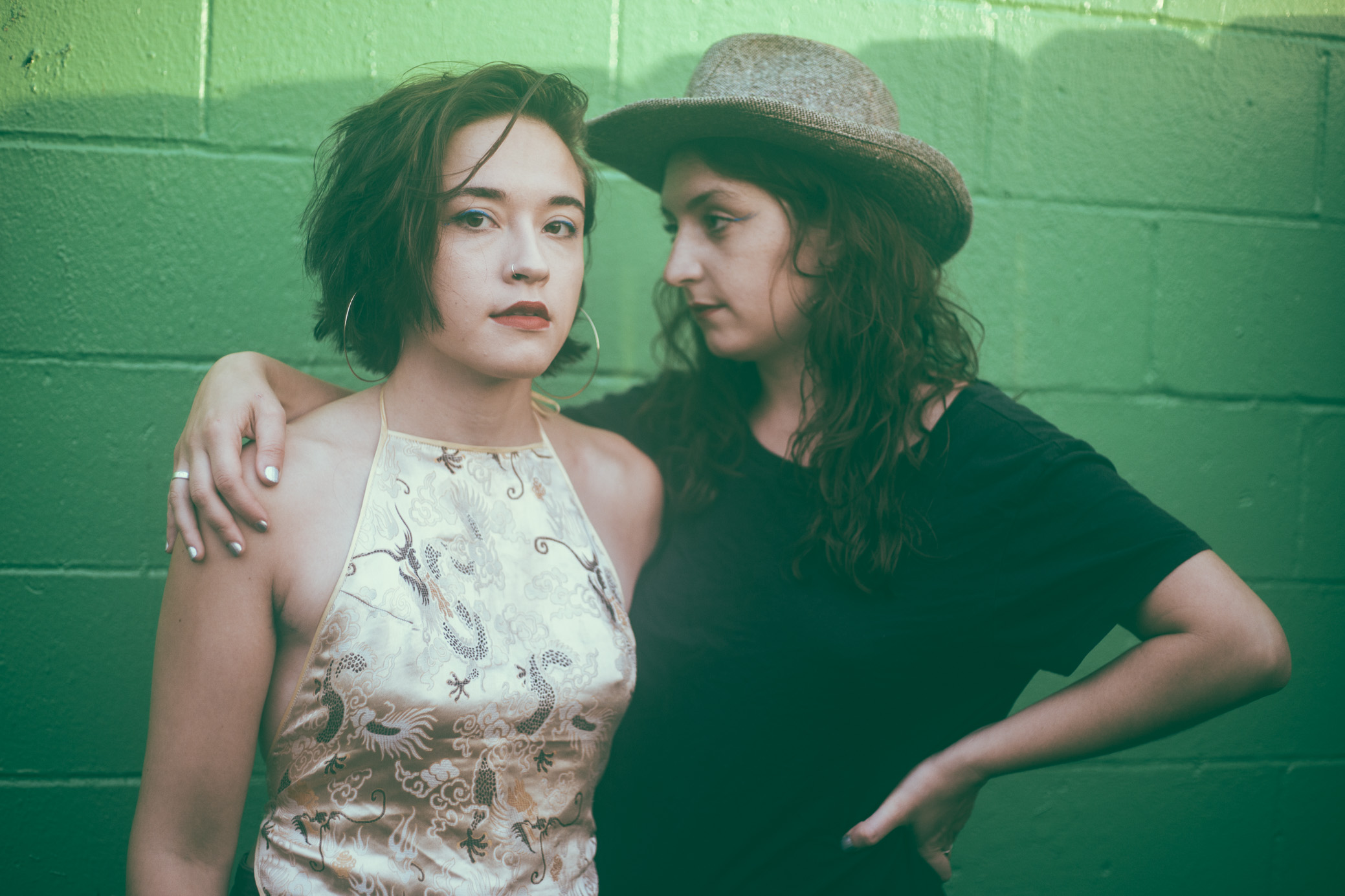Macie Stewart and Sima Cunningham of OHMME pose before their concert at The Spring Street Firehouse in Birmingham, Alabama on September 5th, 2018. (Photo by David A. Smith/DSmithScenes)