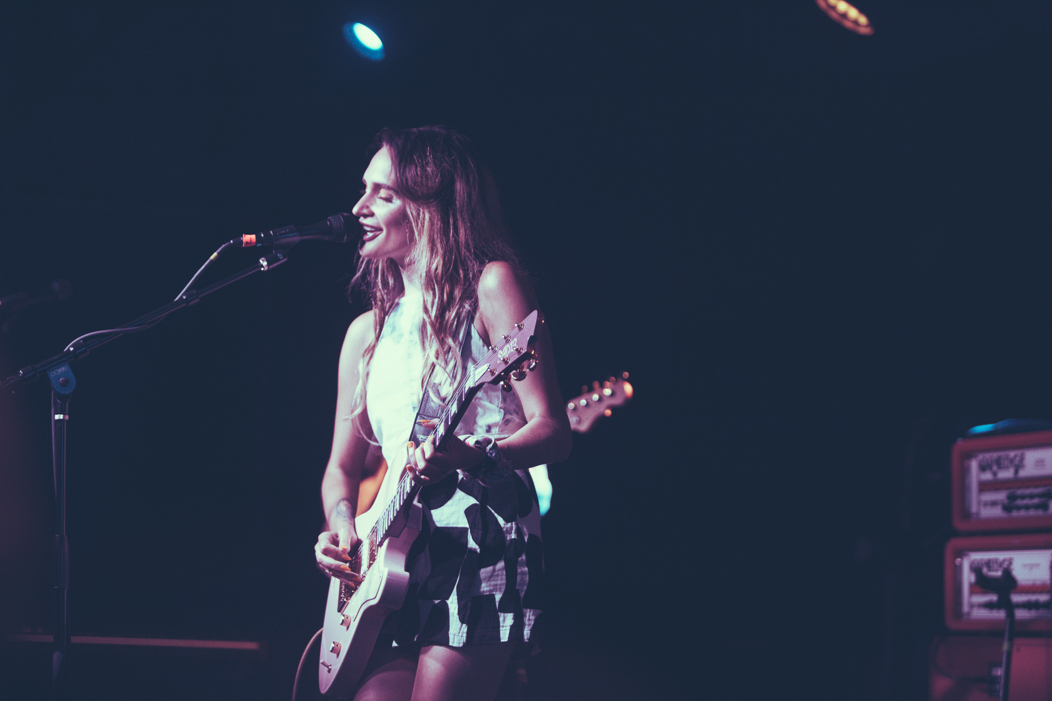 Sadie Dupuis of Speedy Ortiz performs in concert at Saturn Birmingham in Birmingham, Alabama on September 7th, 2018. (Photo by David A. Smith/DSmithScenes)
