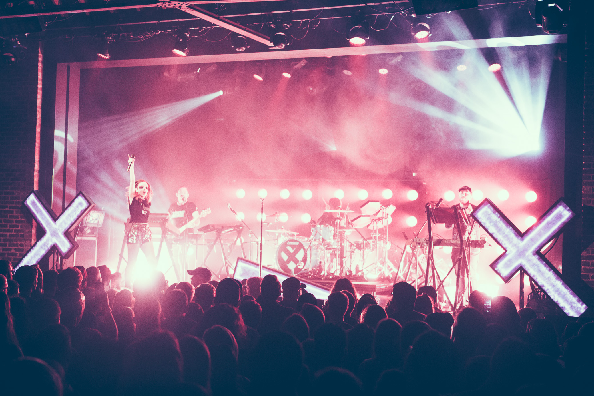 CHVRCHES performs in concert at Iron City in Birmingham, Alabama on October 8th, 2018. (Photo by David A. Smith / DSmithScenes)