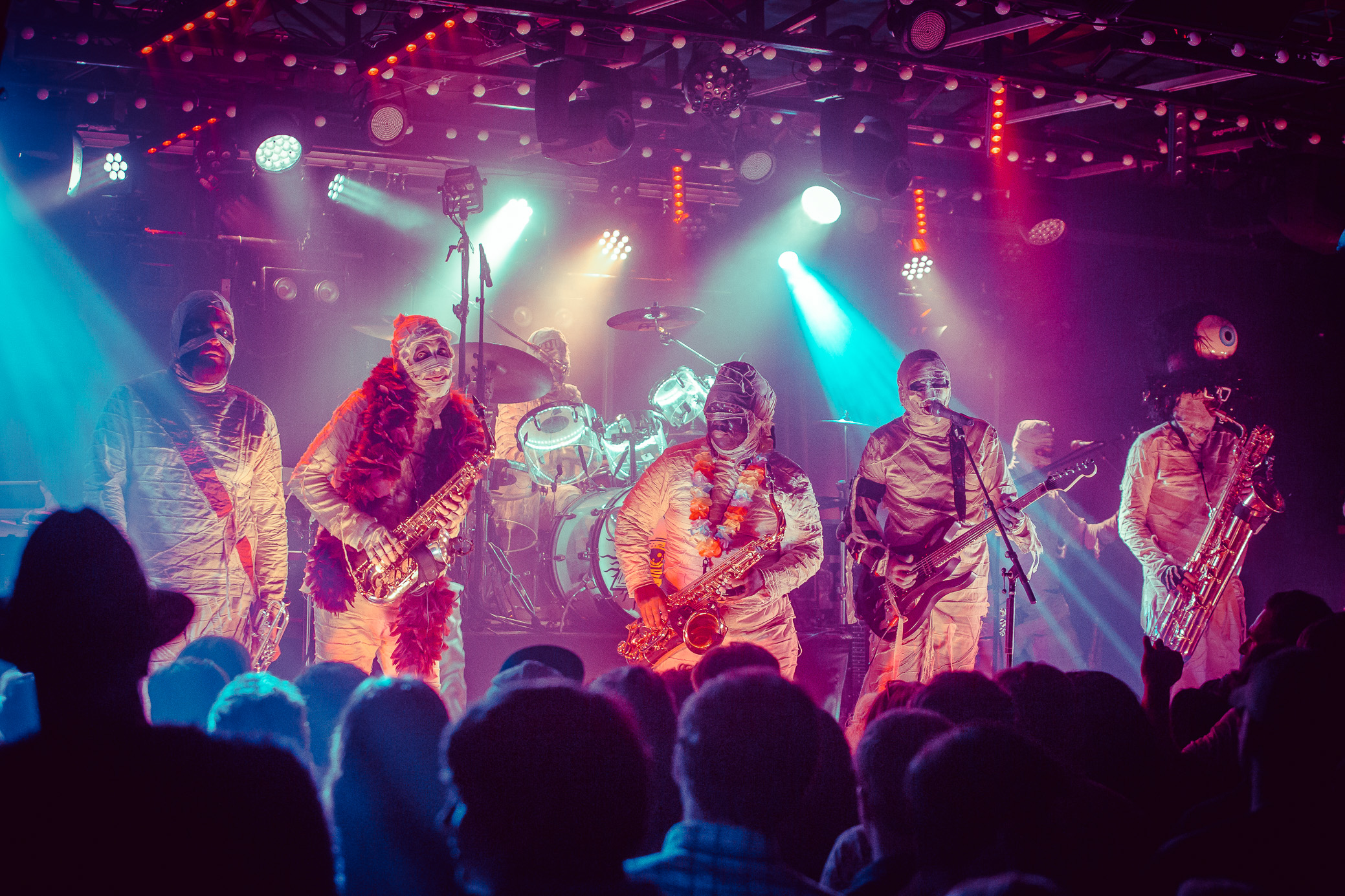 Here Come The Mummies perform in concert at Saturn Birmingham in Birmingham, Alabama on August 9th, 2019. (Photo by David A. Smith/DSmithScenes)