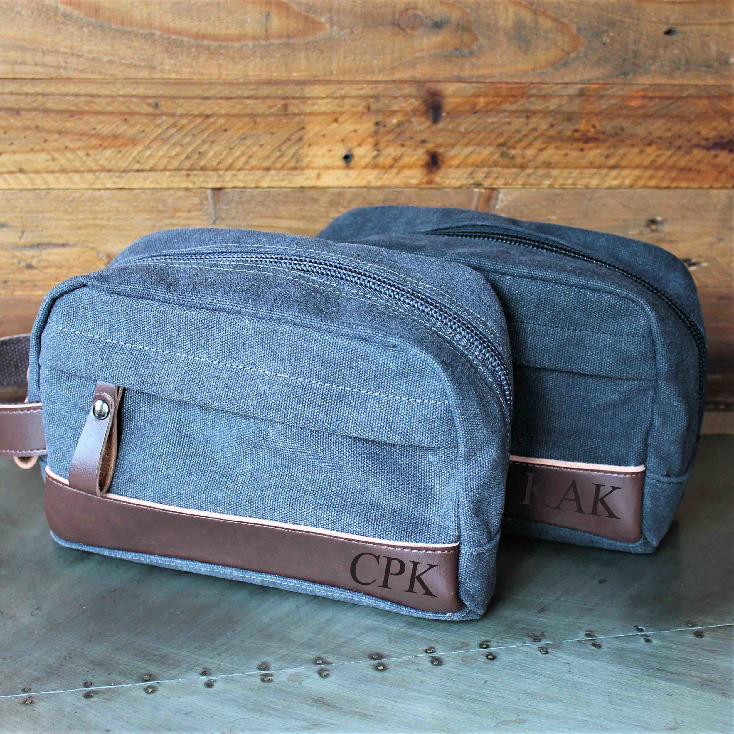 49eaf5a7ebbe The Peale™ - Groomsmen's Travel Size Toiletry Bag in Gray or Black -  Personalized Canvas Dopp Kit, Genuine Leather Accents, Groomsman, Best Man  Gift ...