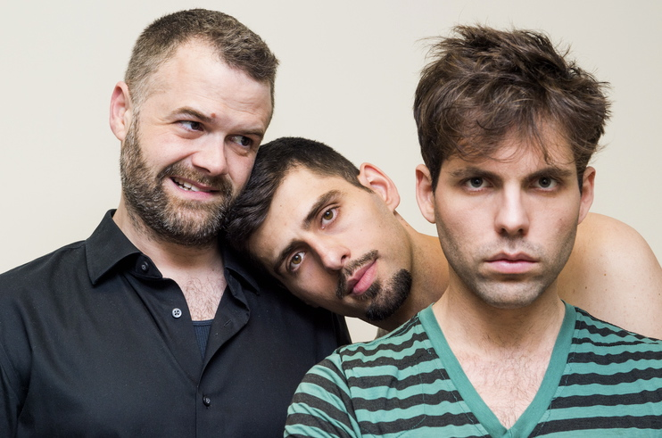 Actors Casey Burden, Afrim Gjonbalaj & Kevin Perez of   No Strings Attached   by Manuel Igrejas. Photo: Joel Bischoff.