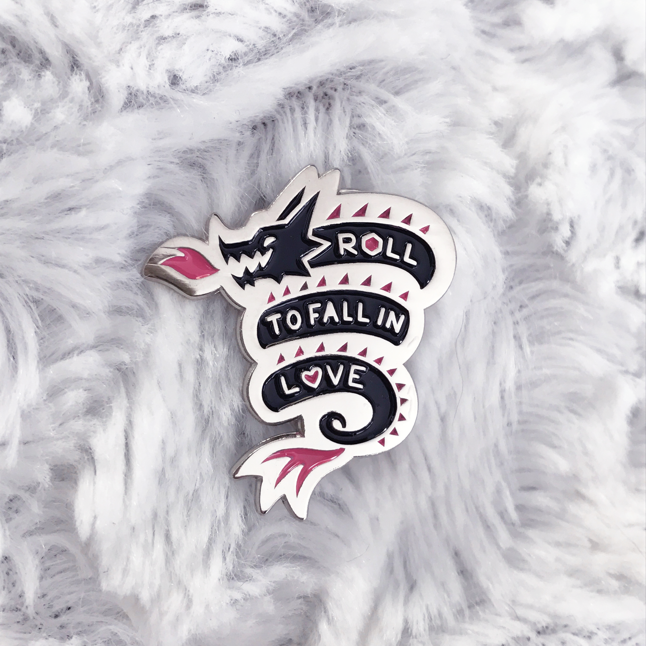 Roll to Fall in Love Enamel Pin