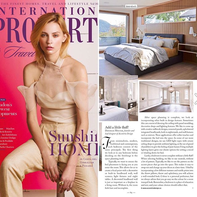 We're featured in the International Property & Travel Magazine May/June Issue - We go over the basics of designing a high end luxury bedroom on Page 69. @internationalpropertytravel @accentrixdesign . . . . #luxuryinteriors #luxurybedrooms #fullserviceinteriordesign #interiordesign #interiordesigners #yvrdesign #yvrdesigners #newconstruction #renovations #vancouverliving  https://issuu.com/intprop/docs/ip-v26n3/1?ff&e=24253289/69357698