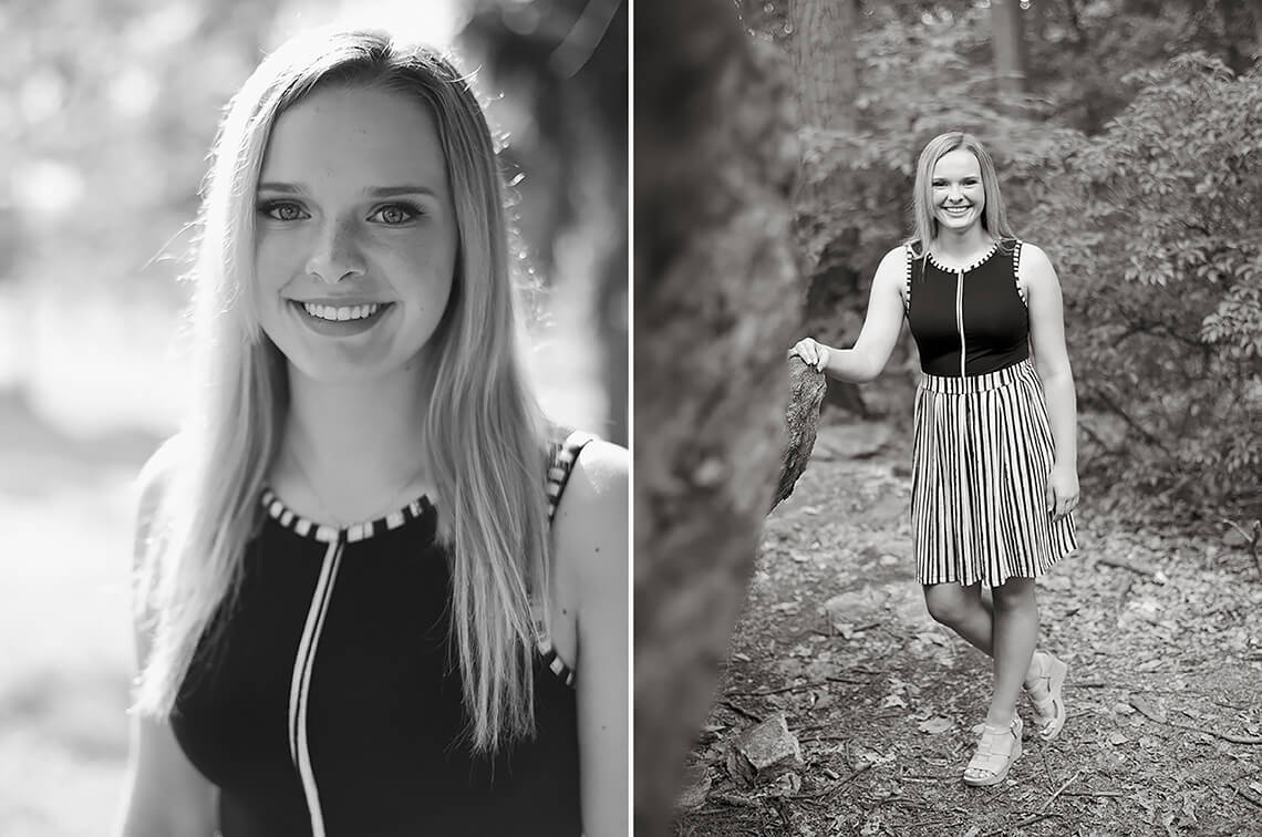 9-Ken-Bruggeman-Photography-Senior-Portraits-York-PA-Young-Blonde-Woman-Standing-Woods-Smiling.jpg