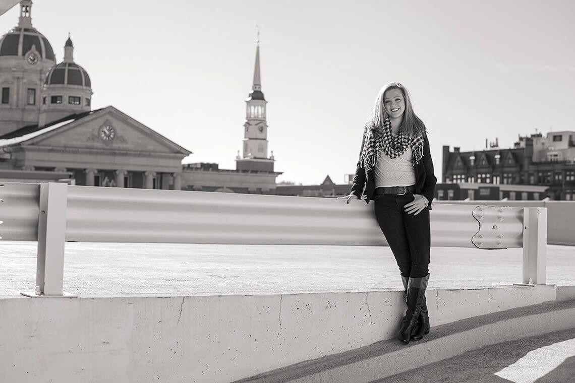 3-Ken-Bruggeman-Photography-Senior-Portrait-Photographer-York-PA-Woman-Standing-Smiling-Black-White.jpg