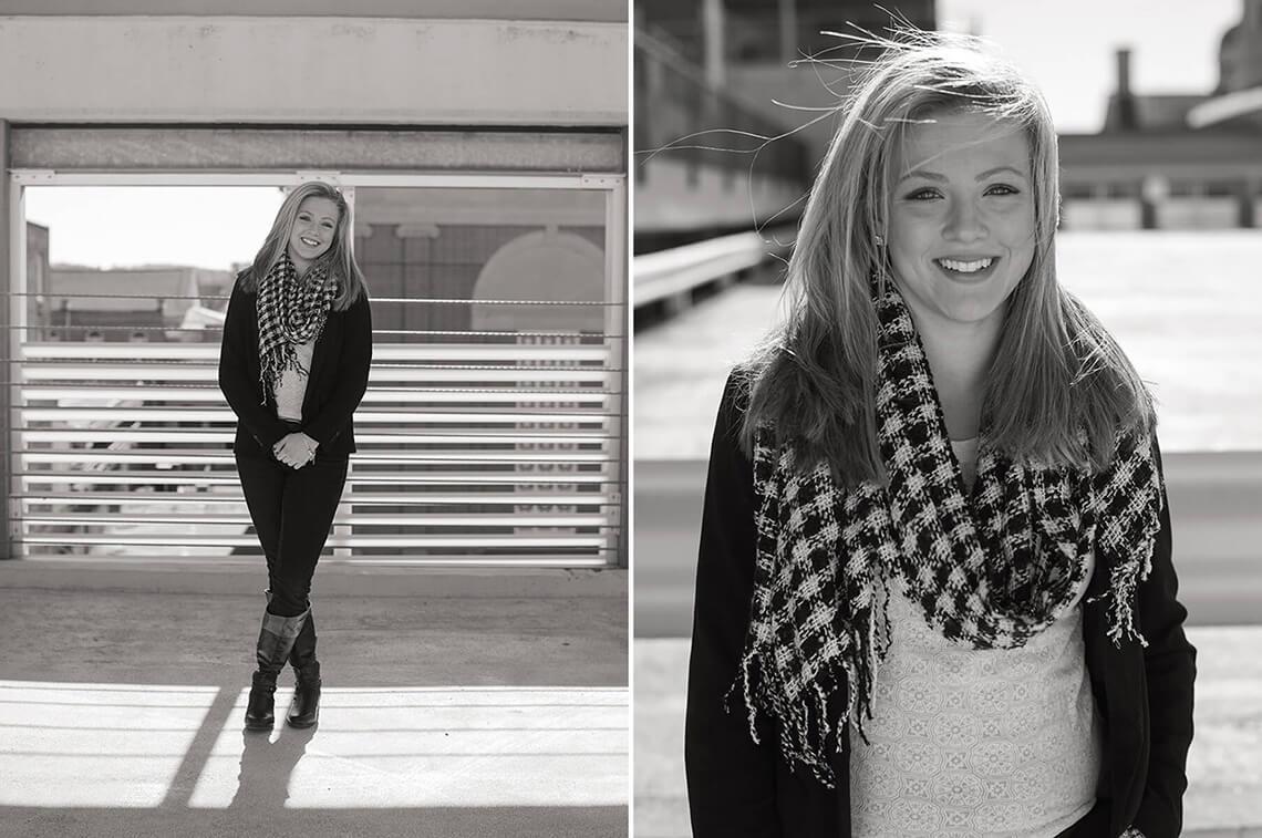 4-Ken-Bruggeman-Photography-Senior-Portrait-Photographer-York-PA-Rooftop-Black-White-Woman-Standing-Smiling.jpg