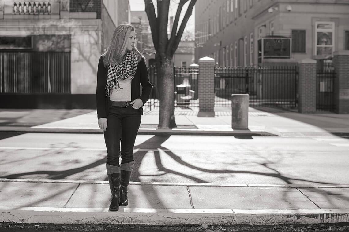 5-Ken-Bruggeman-Photography-Senior-Portrait-Photographer-York-PA-Woman-Standing-City-Street-Tree-Shadow.jpg