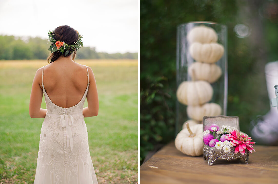 8-Wedding-Photographer-York-PA-Ken-Bruggeman-Bride-Dress-Pumpkins-Flower-Decoration.jpg
