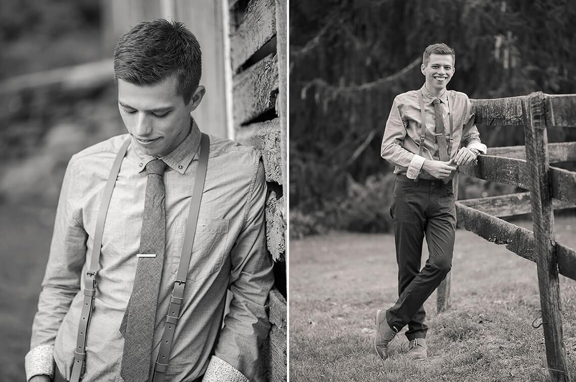 27-Wedding-Photographer-York-PA-Ken-Bruggeman-Groom-Smiling-Posing-Stylish-Near-Farm-Fence.jpg