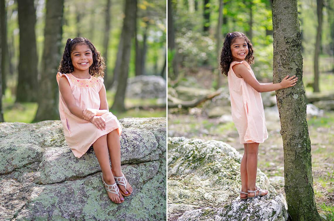 2-Family-Photographer-York_PA-Ken-Bruggeman-Photography-Girl-Orange-Dress-Standing-Tree-Smiling-Woods.jpg