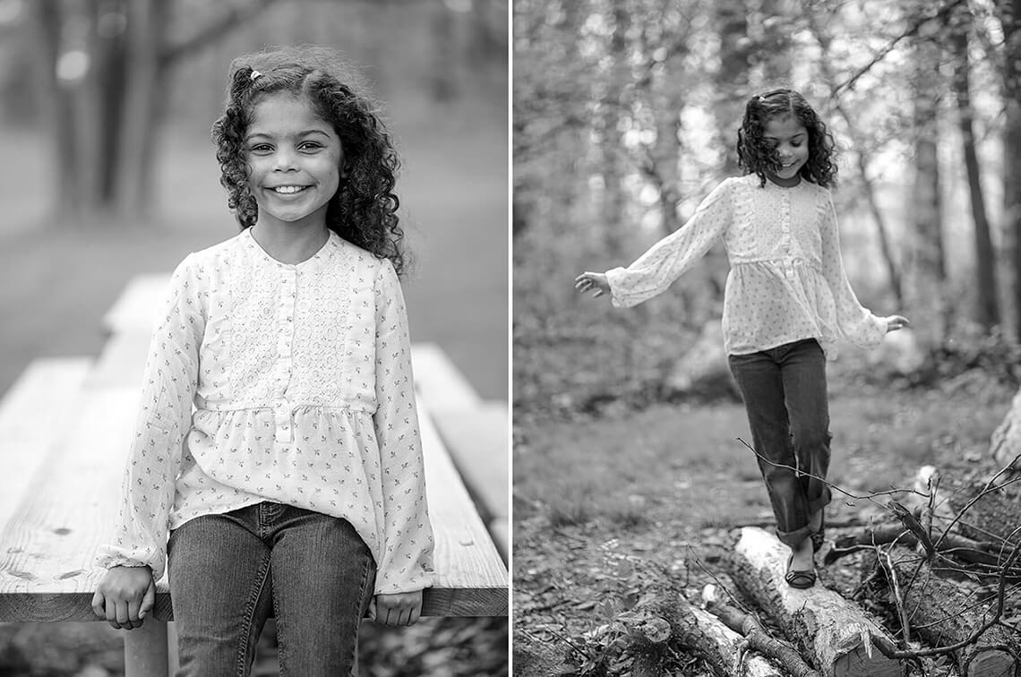 3-Family-Photographer-York_PA-Ken-Bruggeman-Photography-Black-White-Portrait-Girl White-Shirt-Sitting-Picnic-Table-Smiling.jpg
