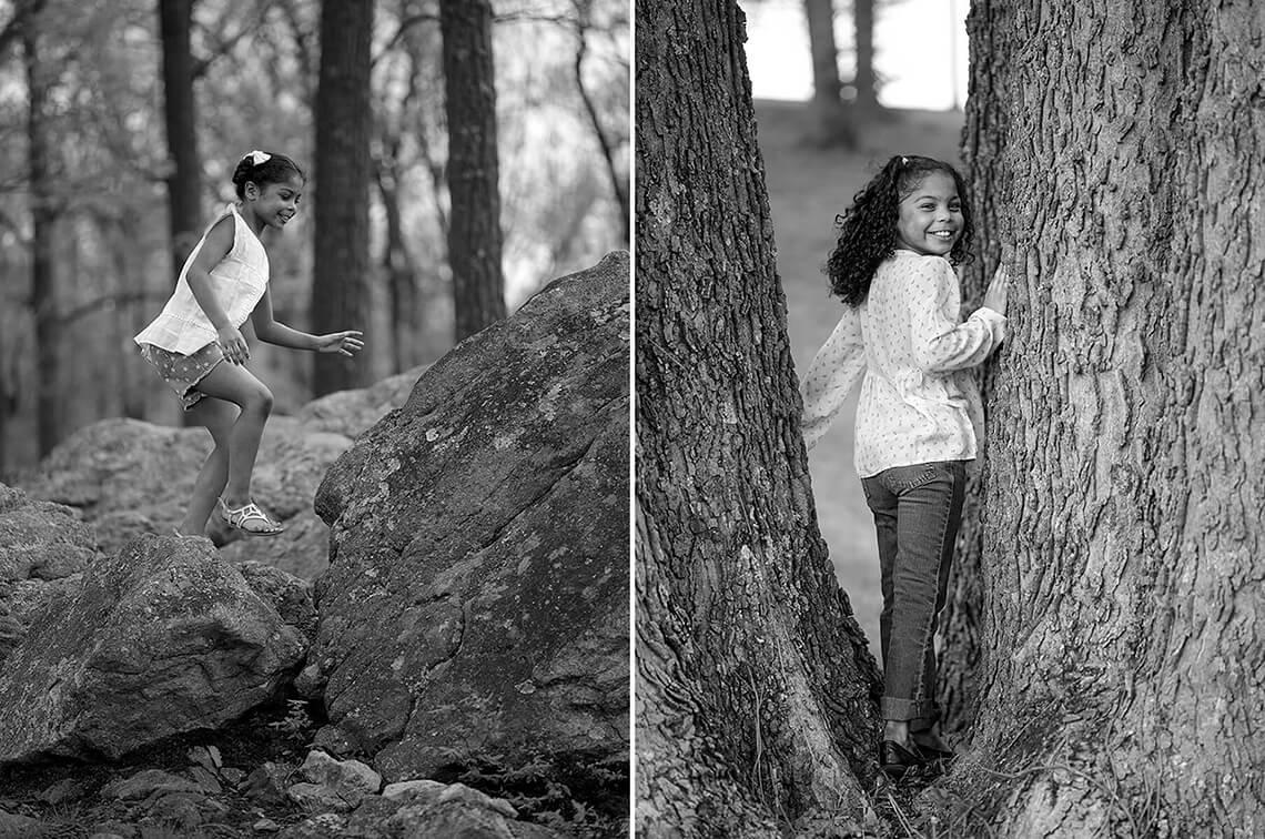 8-Family-Photographer-York_PA-Ken-Bruggeman-Photography-Young-Girl-Black-White-Playing-Rocks-Trees.jpg