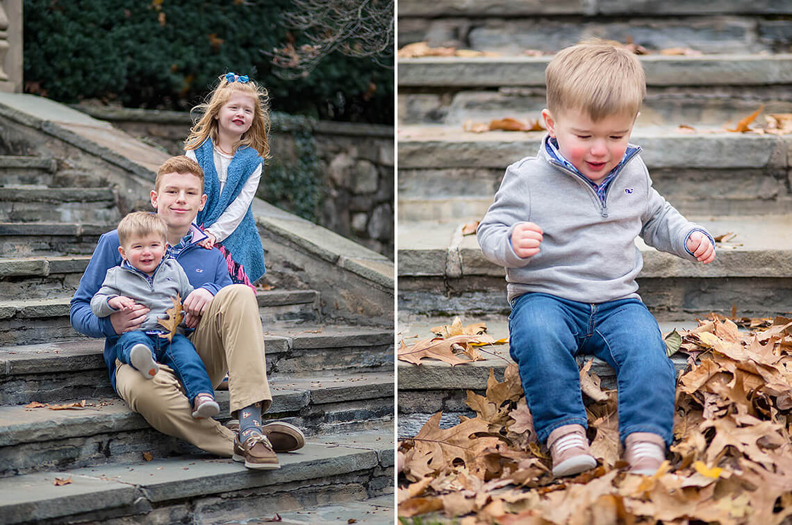 9-Family-Photographer-York-PA-Ken-Bruggeman-Photography-Children-Sitting-Stone-Stairs-Leaves.jpg
