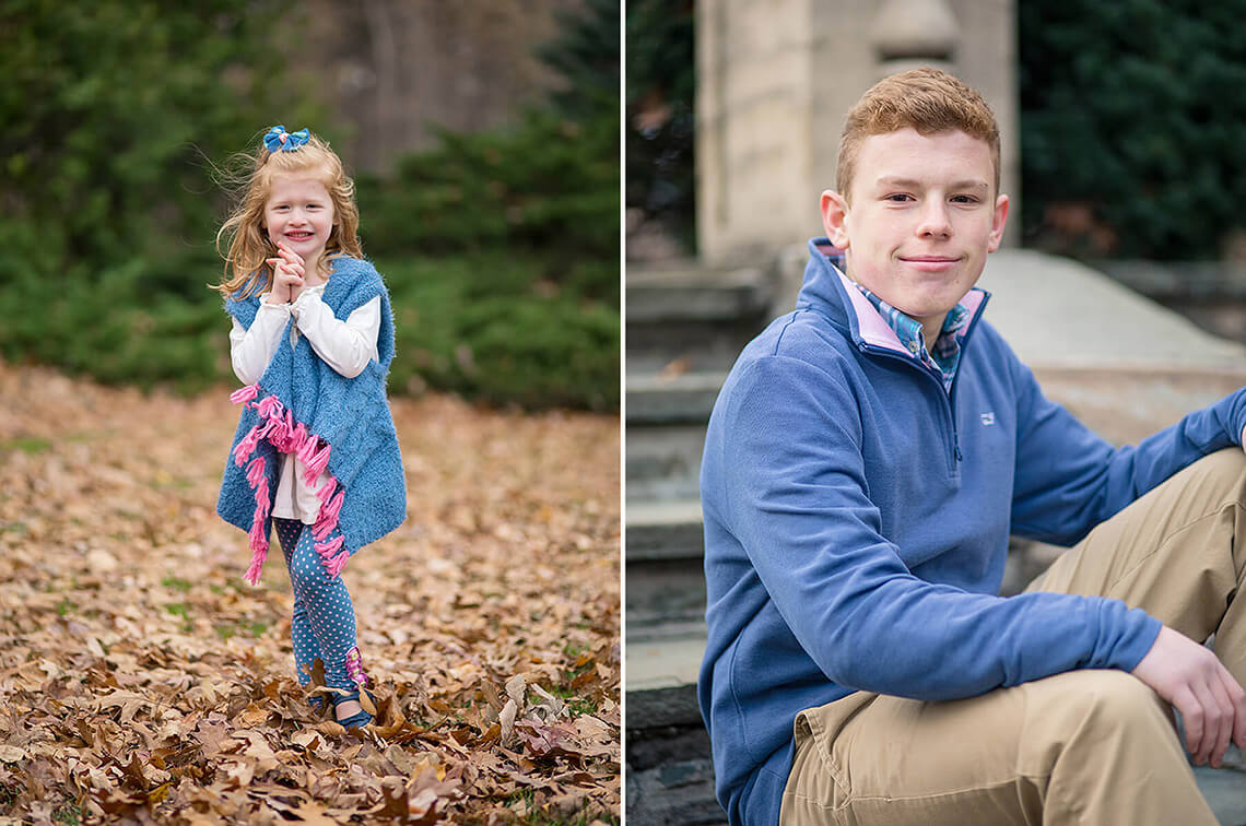 11-Family-Photographer-York-PA-Ken-Bruggeman-Photography-Girl-Colorful-Standing-Autumn-Leaves-Boy-Sitting.jpg