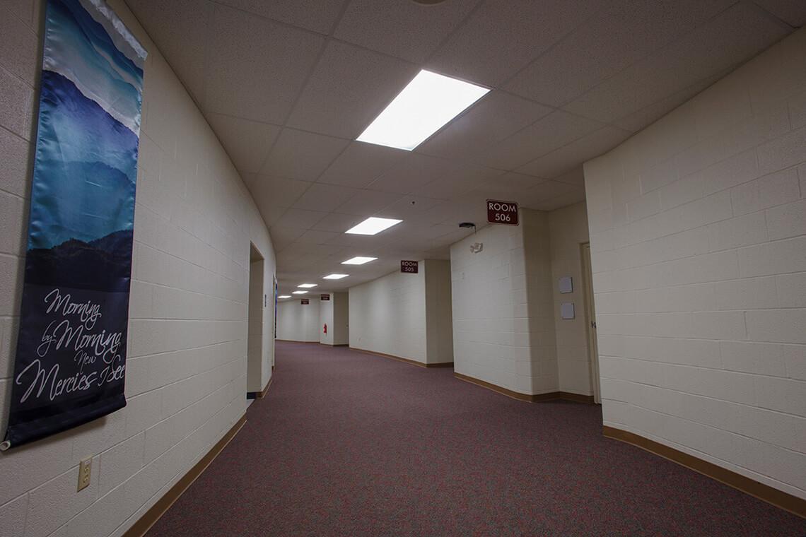 15-Commercial-Architectural-Photographer-York-PA-Ken-Bruggeman-Photography-Grace-Fellowship-New-Salem-Campus-Unique-Curved-Hallway.jpg