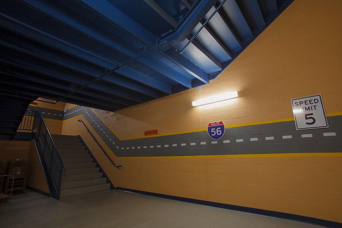 16-Commercial-Architectural-Photographer-York-PA-Ken-Bruggeman-Photography-Grace-Fellowship-New-Salem-Campus-Childrens-Fun-Stairwell.jpg
