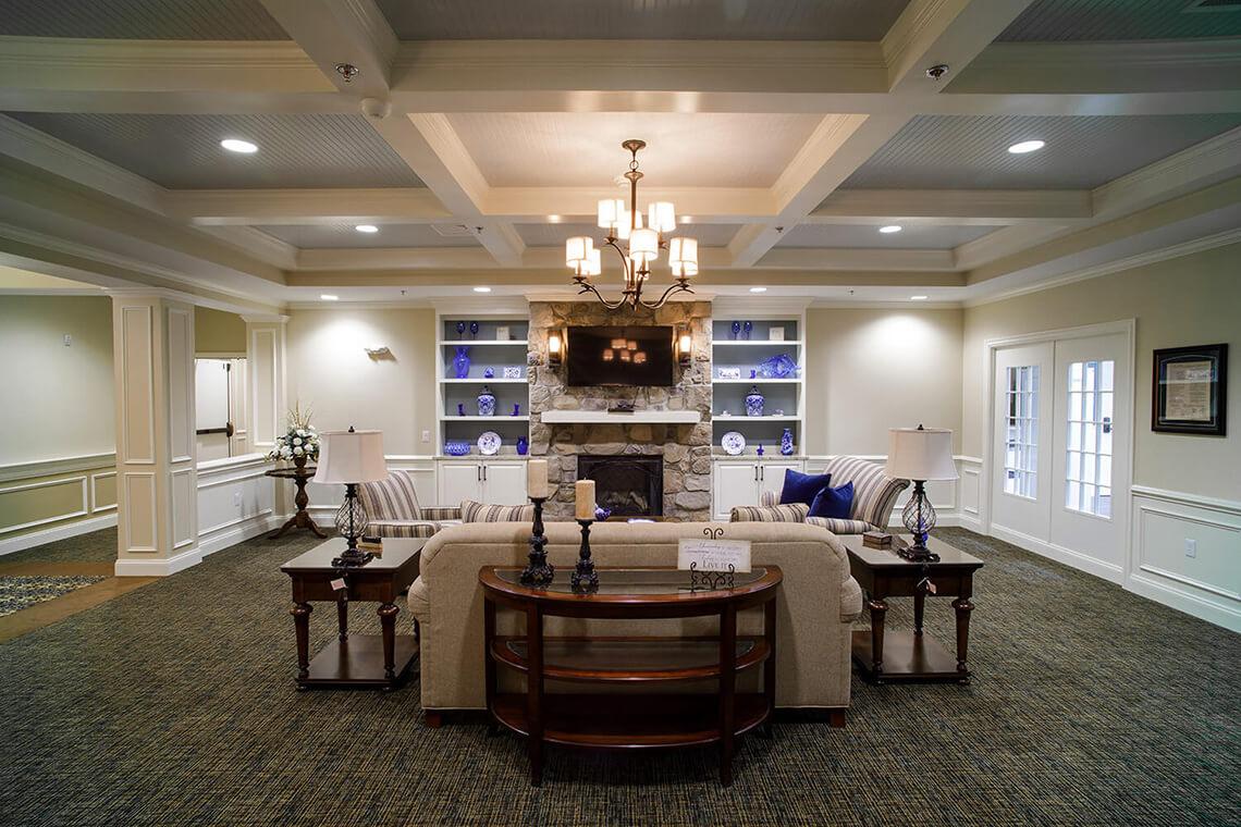 10-Commercial-Architectural-Photographer-York-PA-Ken-Bruggeman-Photography-Senior-Living-Home-Piney-Court-Laurel-Village-Formal-Livingroom-Sofa-Fireplace-Decorative-Ceiling.jpg