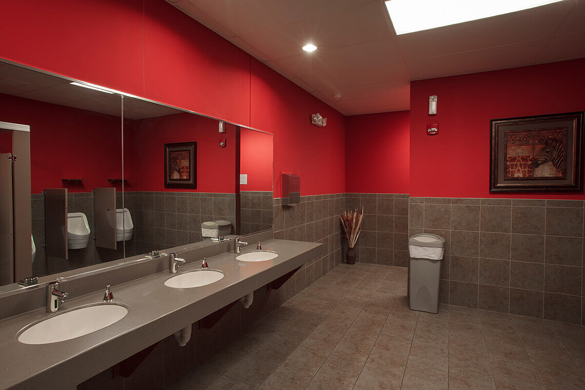 12-Commercial-Architectural-Photographer-York-PA-Ken-Bruggeman-Photography-Reamstown-Church-God-Red-Bathroom-Gray-Tile.jpg