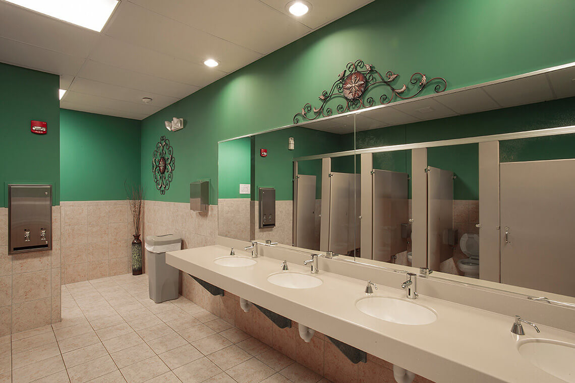 13-Commercial-Architectural-Photographer-York-PA-Ken-Bruggeman-Photography-Reamstown-Church-God-Green-Bathroom-Neutral-Tile-Color.jpg