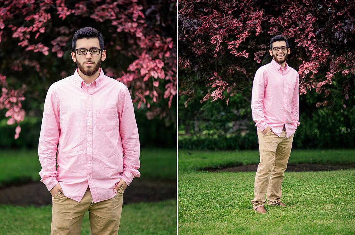 1-Senior-Portrait-Photographer-York-PA-Ken-Bruggeman-Photography-Young-Man-Pink-Shirt-Standing-Tree-Magenta-Leaves.jpg