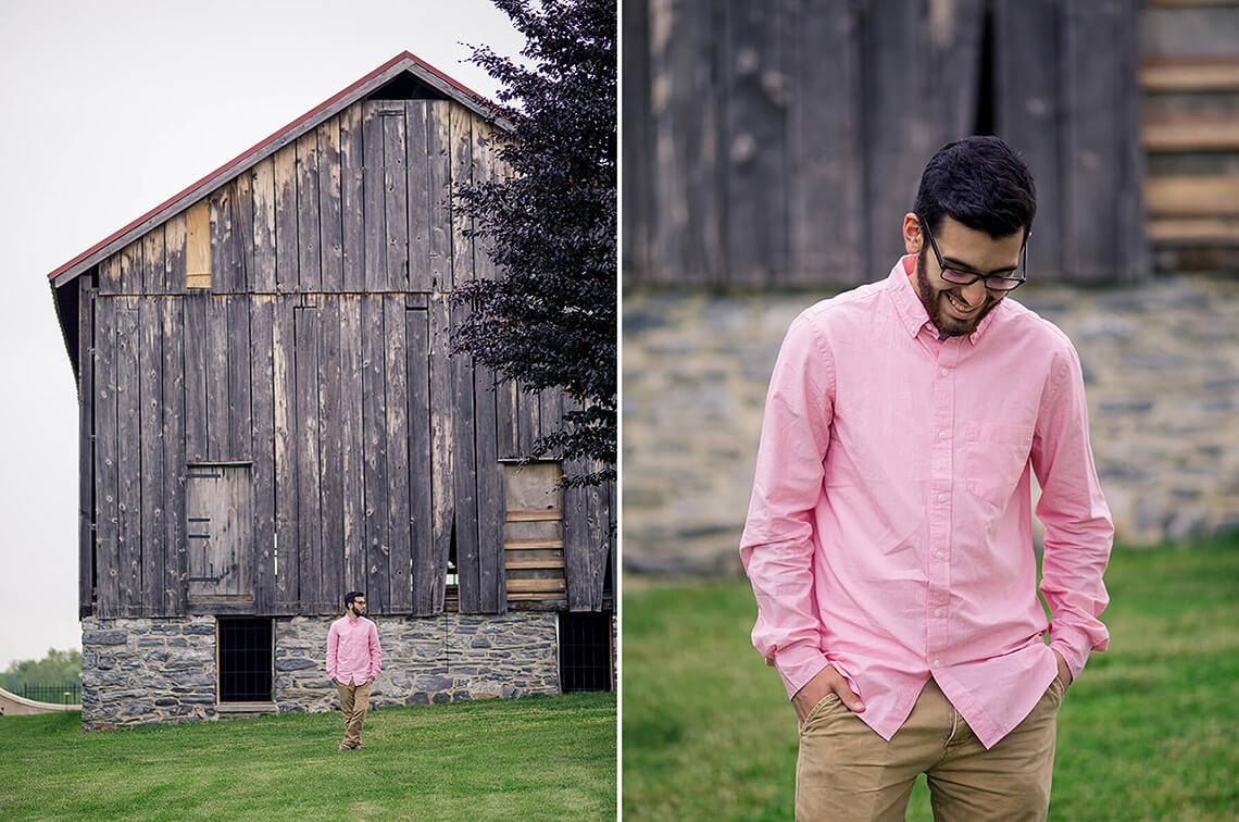 6-Senior-Portrait-Photographer-York-PA-Ken-Bruggeman-Photography-Young-Man-Pink-Shirt-Laughing-Front-Barn.jpg