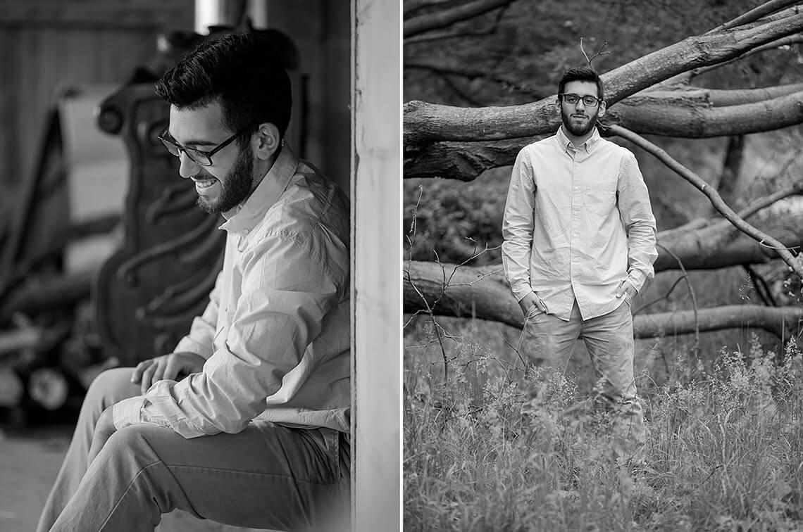 9-Senior-Portrait-Photographer-York-PA-Ken-Bruggeman-Photography-Black-White-Sitting-Barn-Smiling-Standing-Fallen-Tree-Trunk.jpg