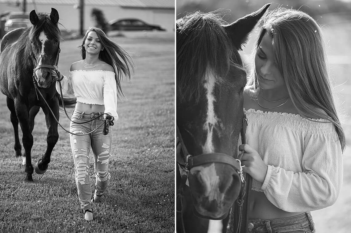 1-Senior-Portrait-Photographer-York-PA-Ken-Bruggeman-Photography-Young-Woman-Walking-Horse-Smiling-Black-White.jpg