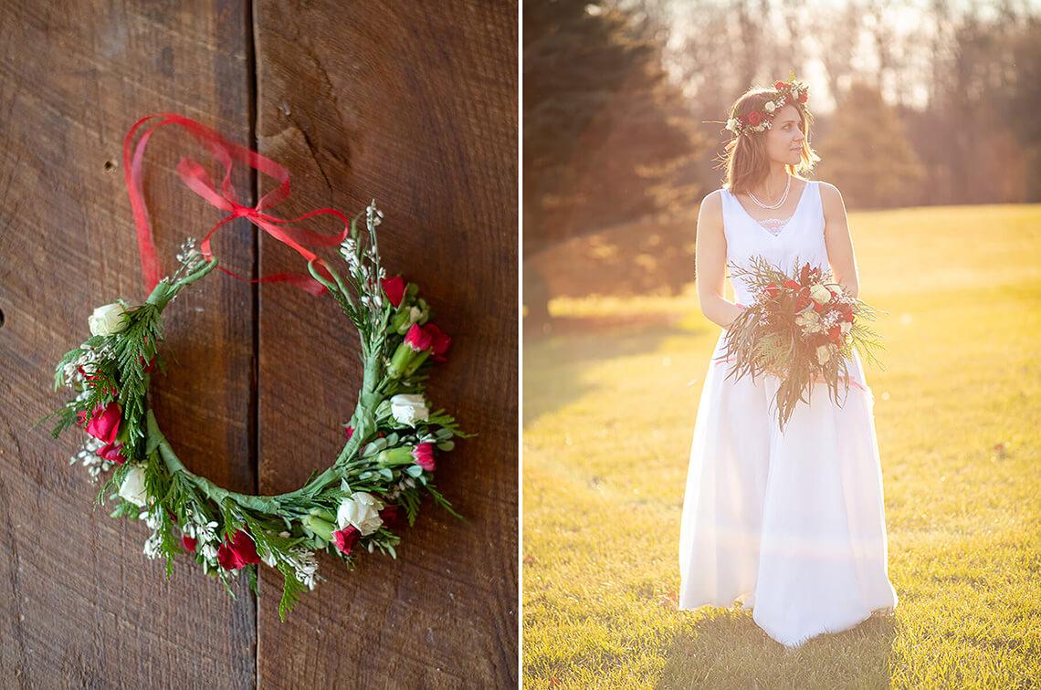 12-Wedding-Photograph-York-PA-Ken-Bruggeman-Photography-Custom-Floral-Crown-Bride-Holding-Flowers-Sunset.jpg