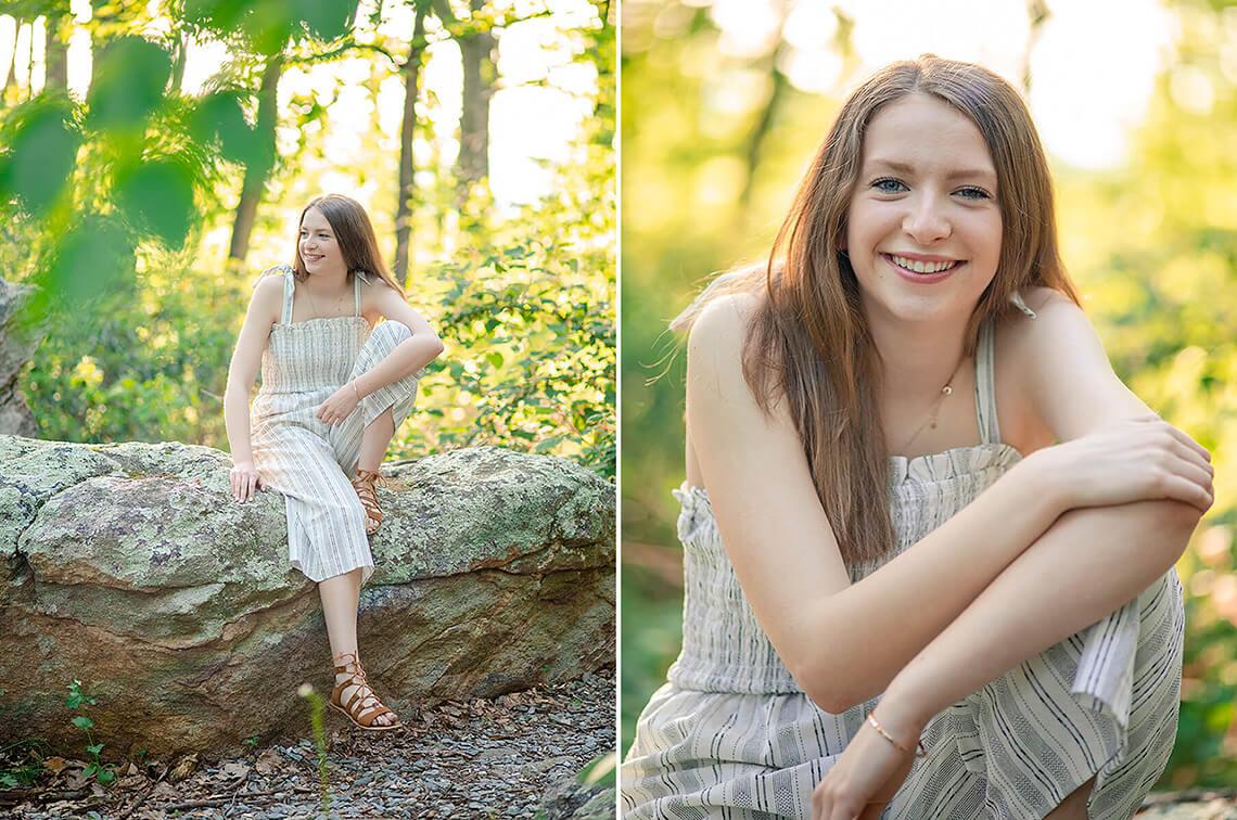 6-Senior-Portrait-Photographer-Near-York-PA-Ken-Bruggeman-Photography-Girl-Smiling-Sitting-Rock-Wooded-Area.jpg