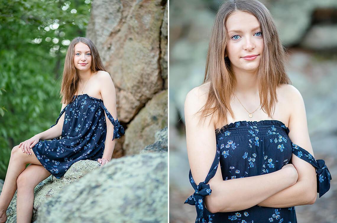 8-Senior-Portrait-Photographer-Near-York-PA-Ken-Bruggeman-Photography-Young-Girl-Sitting-Rocks-Blue-Dress.jpg