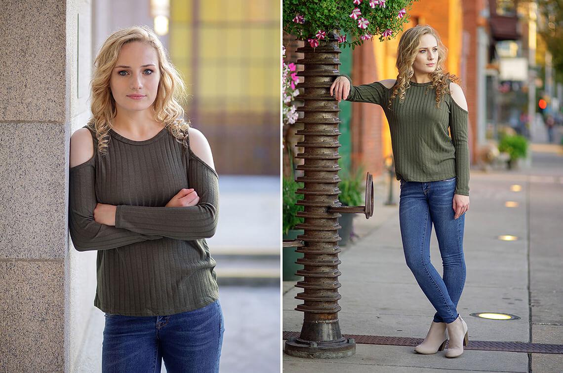 5-Senior-Portrait-Photographer-York-PA-Ken-Bruggeman-Photography-Central-High-School-Green-Shirt-Blue-Jeans-Standing-Downtown-City.jpg