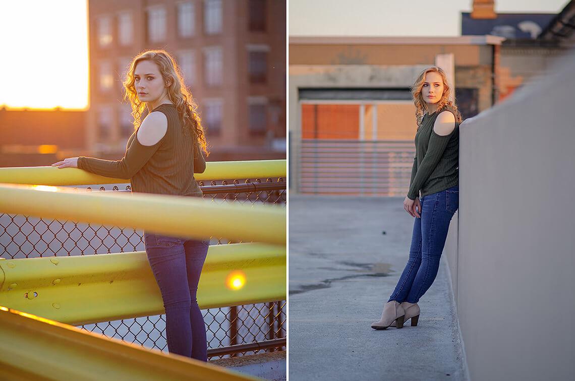 7-Senior-Portrait-Photographer-York-PA-Ken-Bruggeman-Photography-Central-High-School-Young-Blonde-Woman-Sunset-Light-Flair-Parking-Garage.jpg