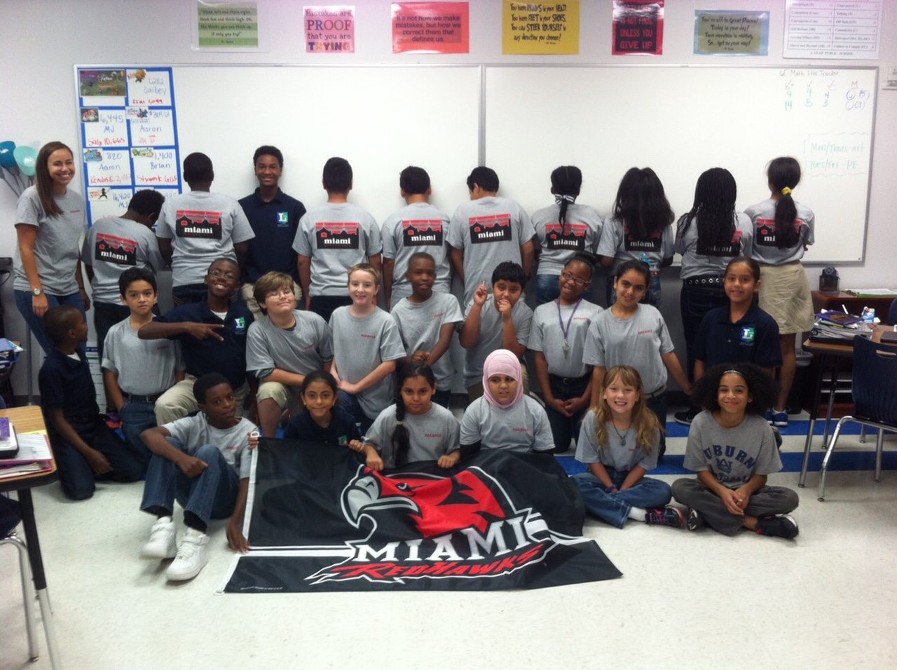 Natalie Klem (Miami Alum) and her homeroom classroom repping their Miami OH Skyline Shirts!