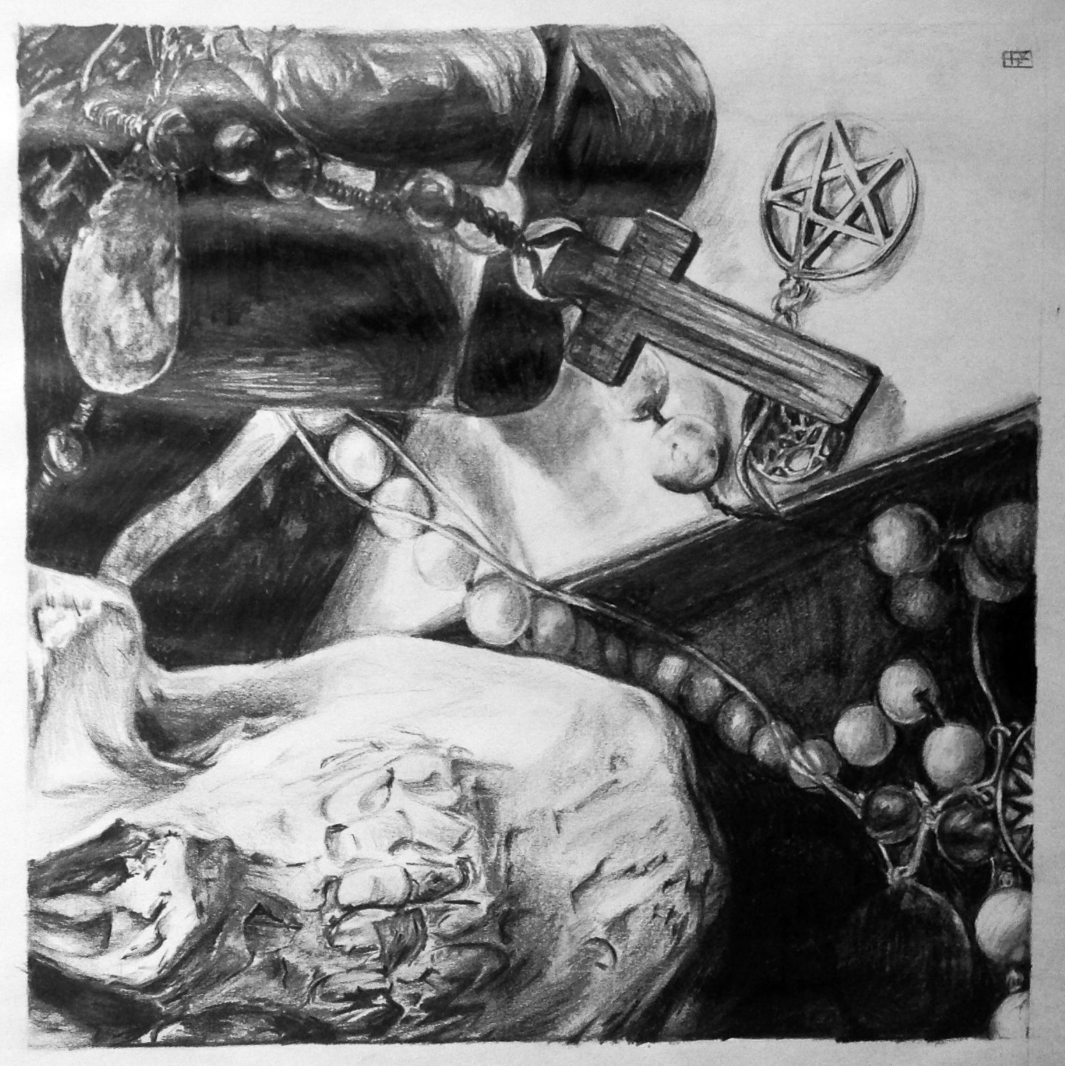 """The clay skull, the rosary and the pentacle"" by Sam Kaczur 2009"