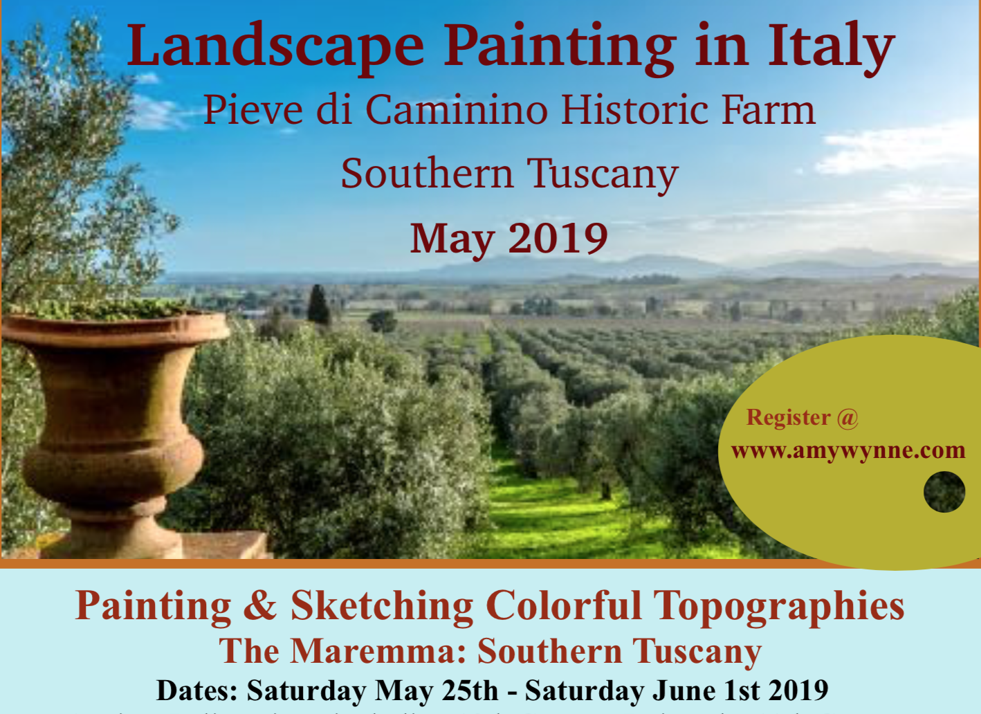 Contact me for more information about painting in this incredible part of Tuscany this Spring! amyelizabethwynne11@gmail.com All levels of experience are welcome in any media!