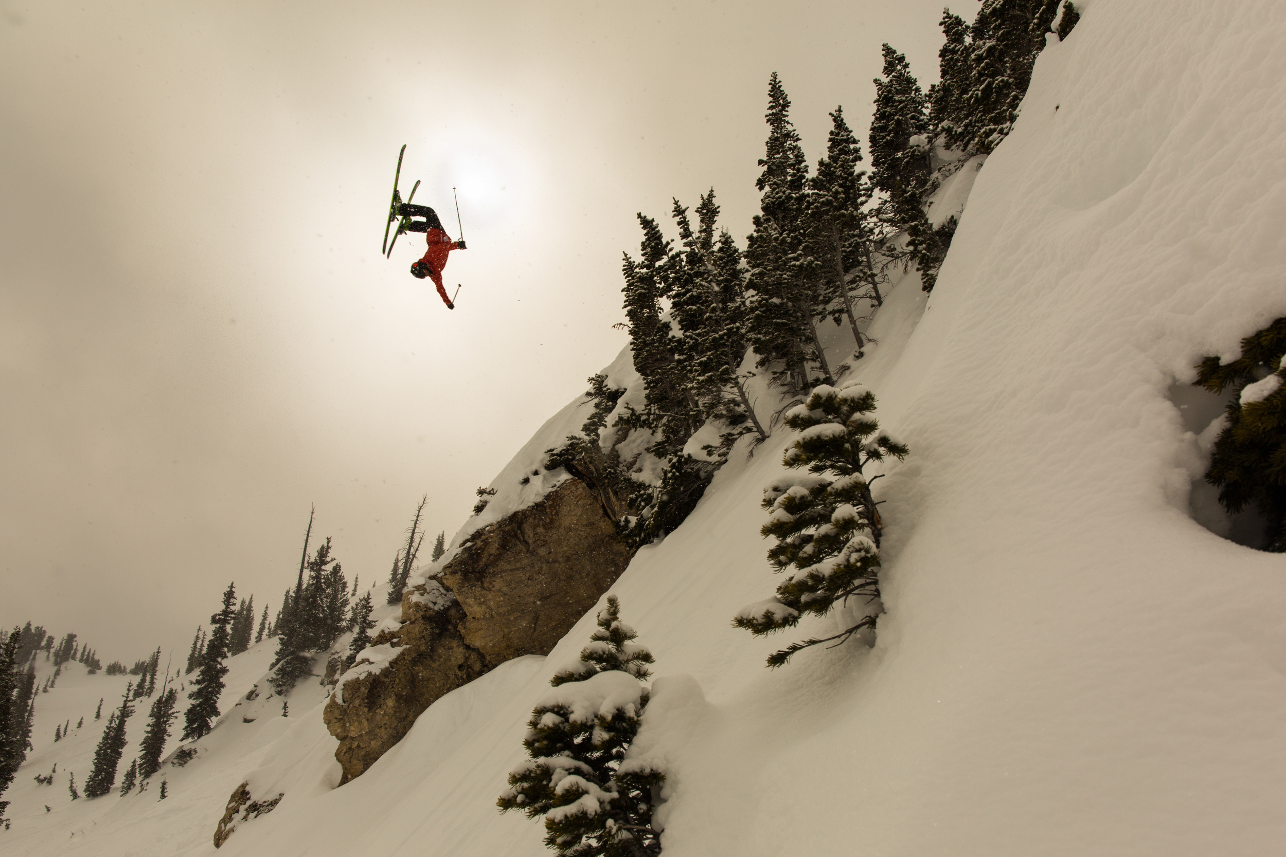 Tyson Rider backflipping C-Frame in the Alta Backcountry